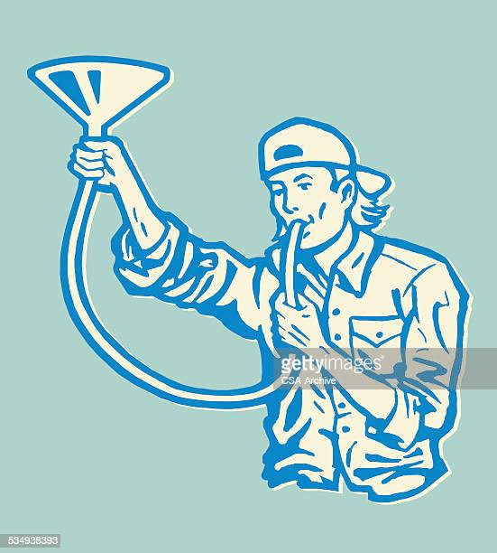 man doing a beer bong - stag night stock illustrations, clip art, cartoons, & icons