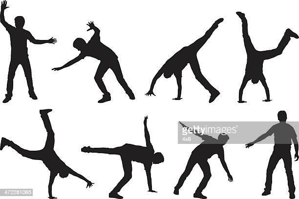 Man doing a cartwheel multiple image
