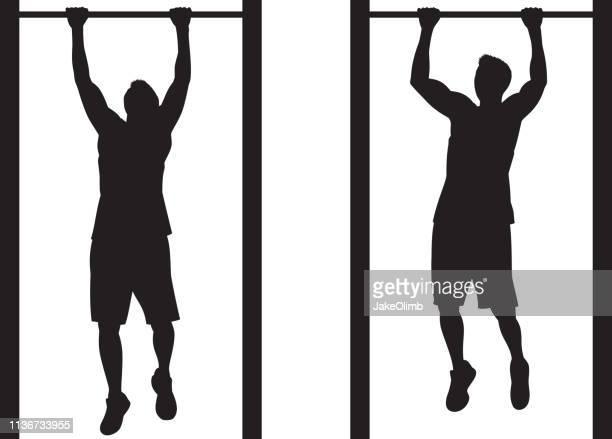 ilustraciones, imágenes clip art, dibujos animados e iconos de stock de hombre haciendo silueta pull-up - entrenamiento de fuerza