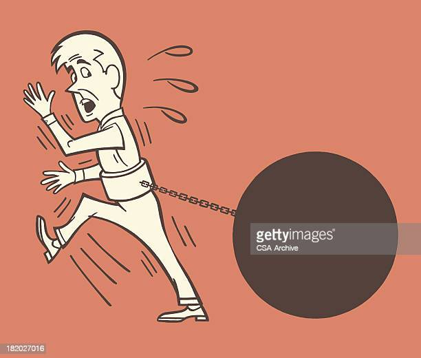 ilustraciones, imágenes clip art, dibujos animados e iconos de stock de hombre arrastra una bola de hierro y cadena - bola de hierro y cadena