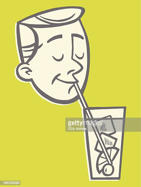 Man Drinking From a Straw
