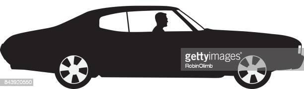 Mann fährt Auto Silhouette