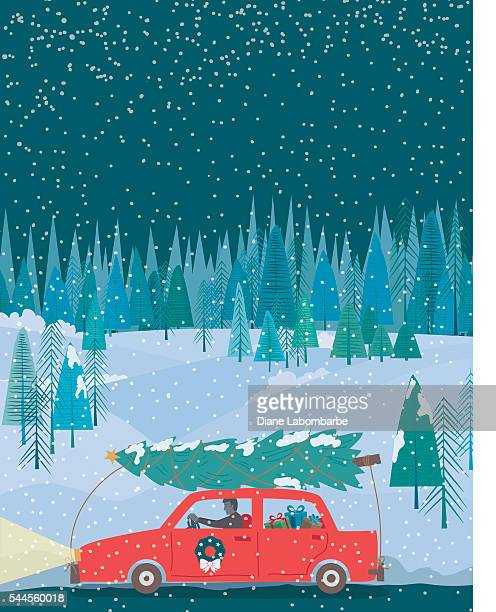 man driving  cartoon car with a christmas tree at night - tied up stock illustrations