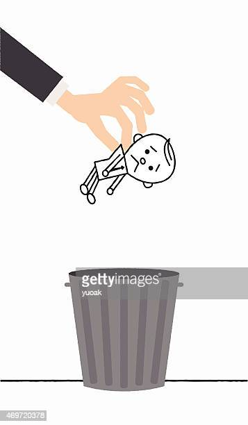 ilustraciones, imágenes clip art, dibujos animados e iconos de stock de hombre disminuyó en del recipiente para la basura - tirar basura