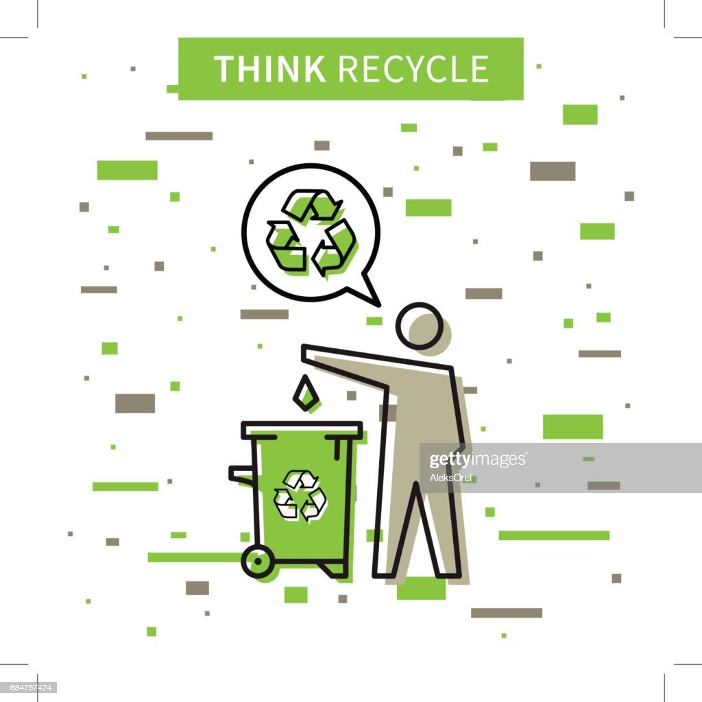 A man drops garbage into a rubbish bin vector illustration
