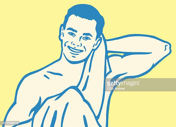 Man Drying Off With Towel