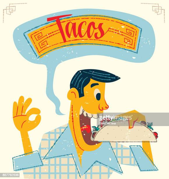 man eating tacos - mexican food stock illustrations, clip art, cartoons, & icons