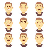 Man emotions faces vector cartoon business characters set
