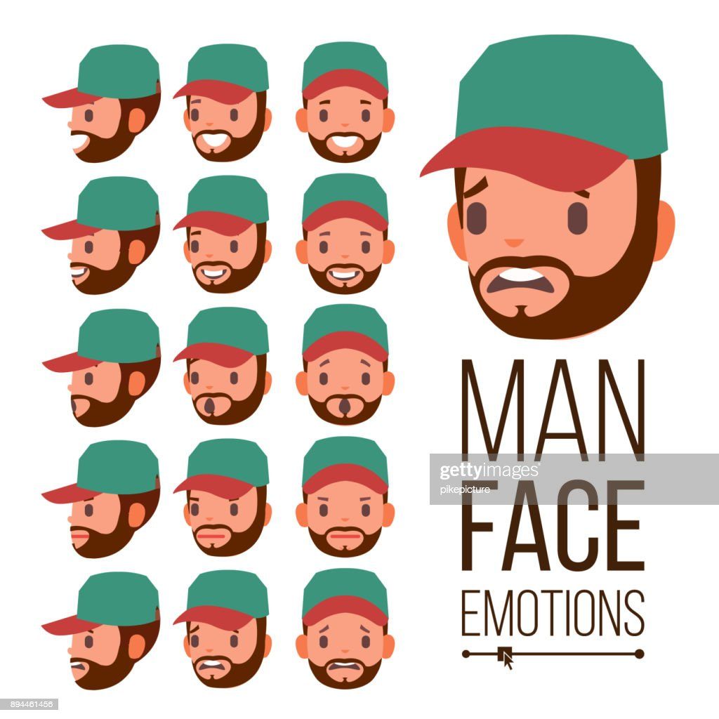 Man Emotions Vector. Face Male Variety Of Emotions. Different Facial Expressions. Isolated Flat Cartoon Illustration