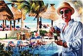 Man Enjoying Resort Swimming Pool and Beach