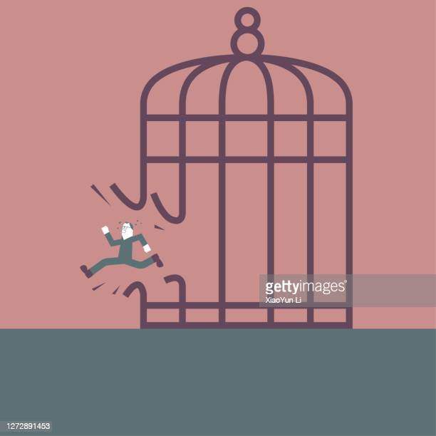 a man escaped from the birdcage. - prisoner vector stock illustrations