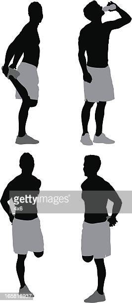 man exercising - step aerobics stock illustrations, clip art, cartoons, & icons