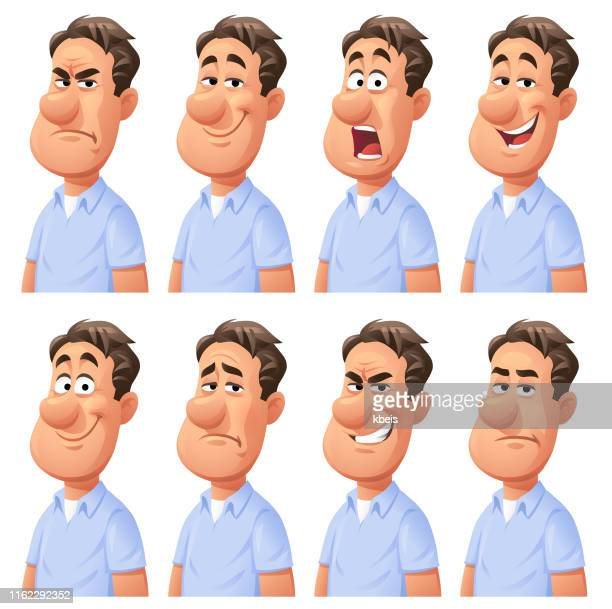 man expressing different emotions - facial expression stock illustrations
