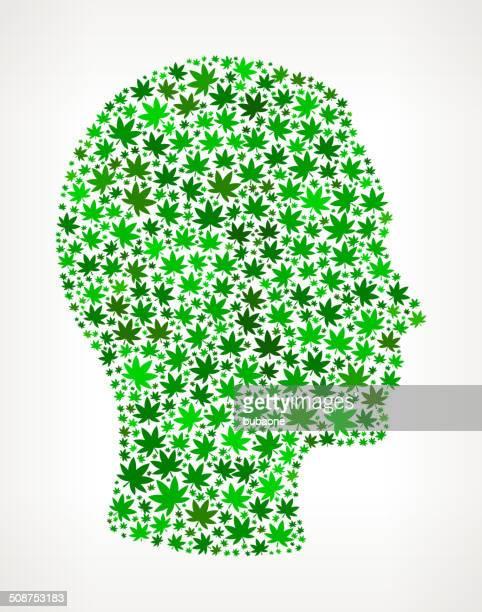 mann-gesicht auf weed lizenzfreie vektorgrafik muster - cannabis medicinal stock-grafiken, -clipart, -cartoons und -symbole