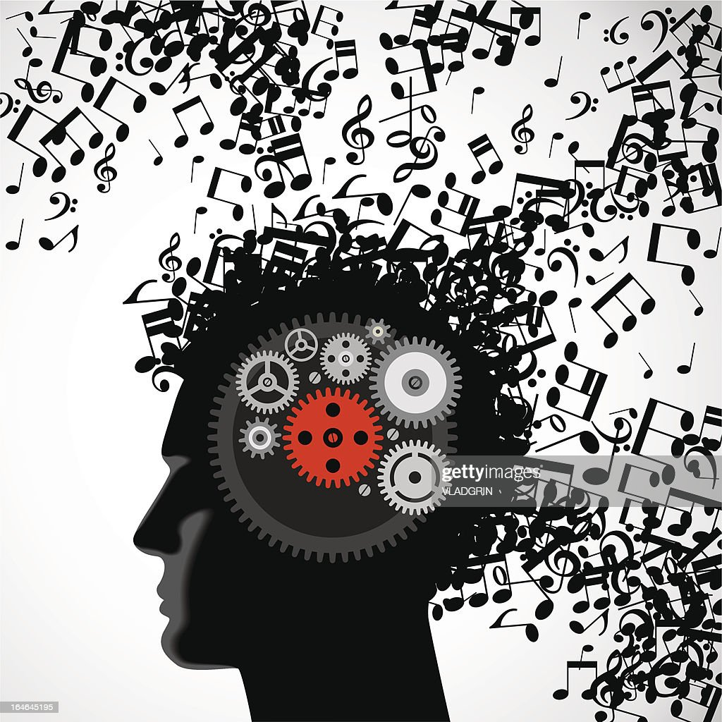 man face with musical hair and gears