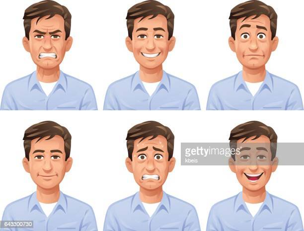 man facial expressions - emotion stock illustrations