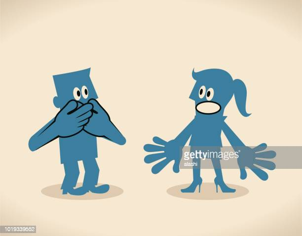 man facing a woman and covering mouth by two hands, keep one's mouth shut - communication problems stock illustrations, clip art, cartoons, & icons