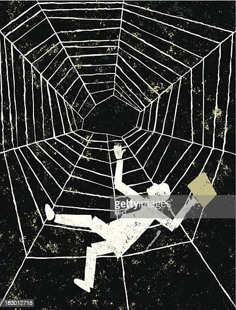 Falling クモの巣の男性