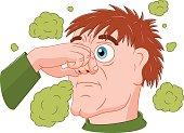 Man feeling bad smell