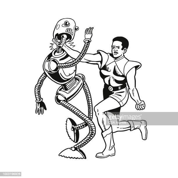 Man Fighting an Alien Robot