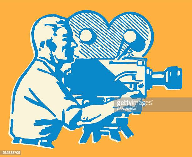 man filming with movie camera - camera operator stock illustrations, clip art, cartoons, & icons