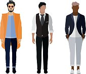 Man flat style icon people figures set: trendy, business, smarty