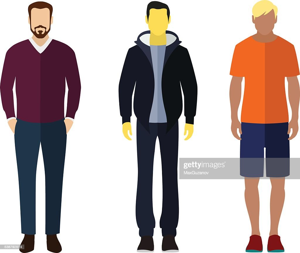 Man flat style icon people figures set