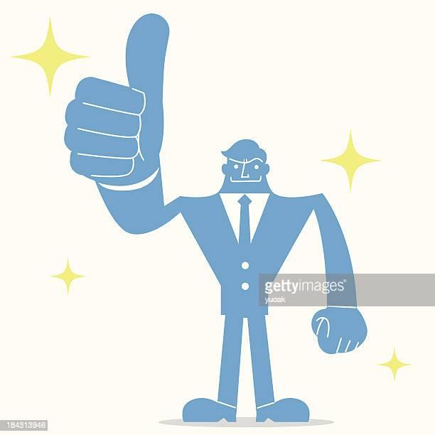 stockillustraties, clipart, cartoons en iconen met man gesturing thumbs up - goed nieuws