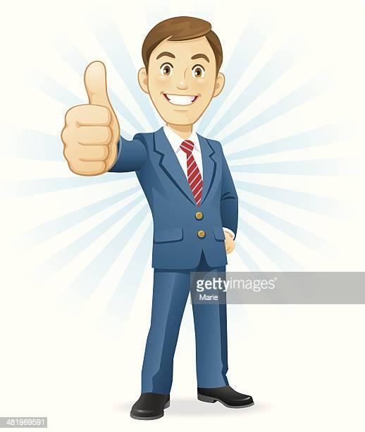 stockillustraties, clipart, cartoons en iconen met man gesturing thumbs up - zakenman