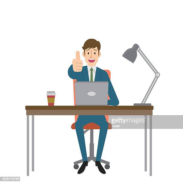 man gesturing thumbs up - using computer stock illustrations