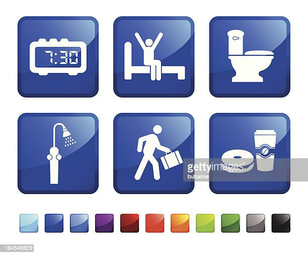 man getting ready in the morning vector icon set stickers