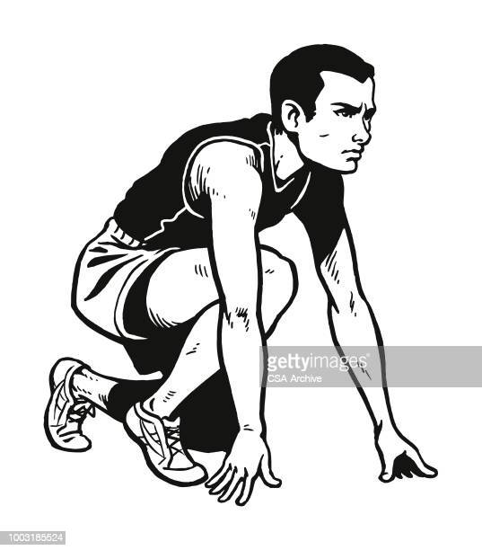 man getting set to run a race - running track stock illustrations, clip art, cartoons, & icons