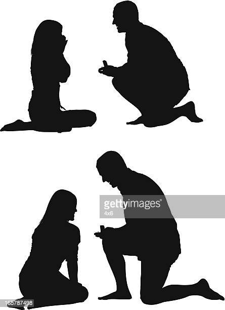 man gifting ring to his girlfriend - boyfriend stock illustrations, clip art, cartoons, & icons