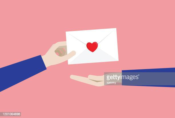 a man gives a love letter to a girl - love letter stock illustrations