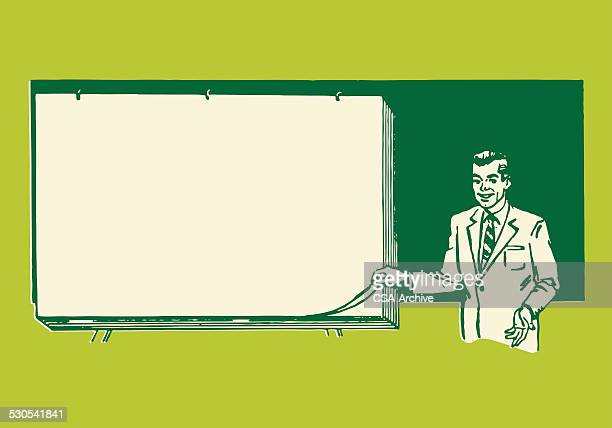 man giving presentation by blank paper - professor stock illustrations, clip art, cartoons, & icons
