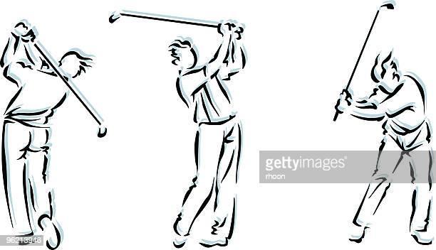 man golfing - golf swing stock illustrations, clip art, cartoons, & icons