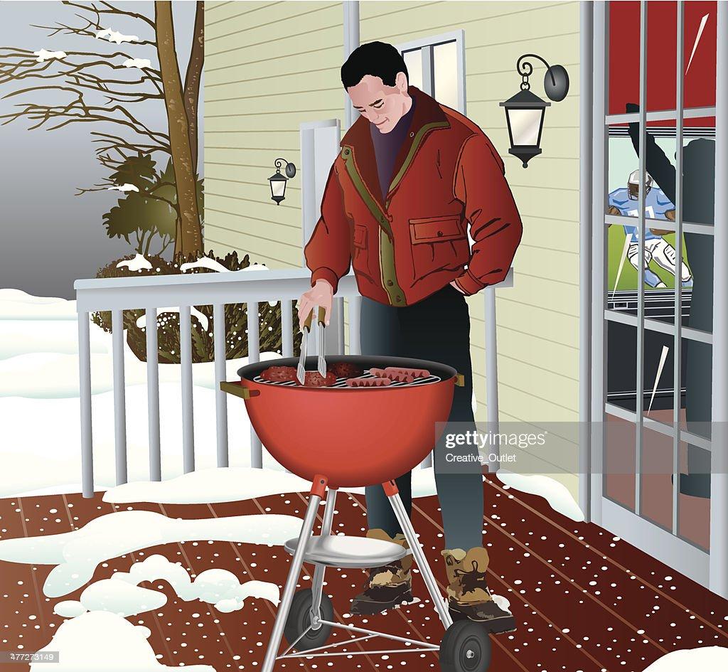 Man Grilling Winter