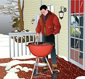 Man Grilling Winter