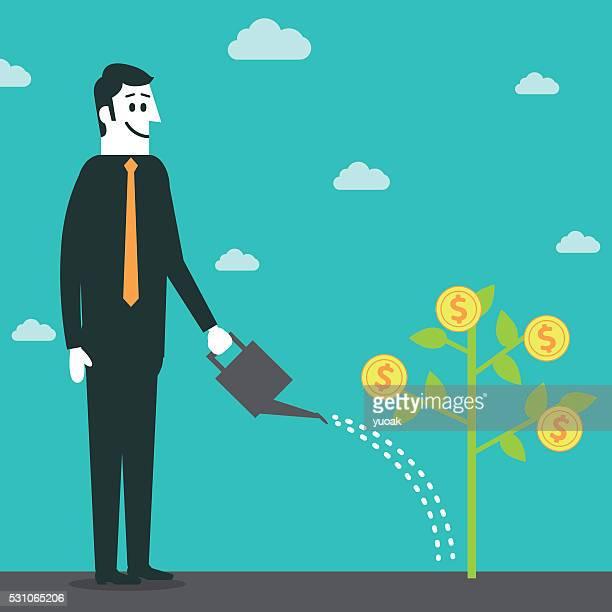 man growing money tree - money tree stock illustrations, clip art, cartoons, & icons