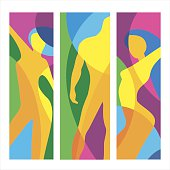 Man gym and woman of fitness. Abstract colorful vector illustration