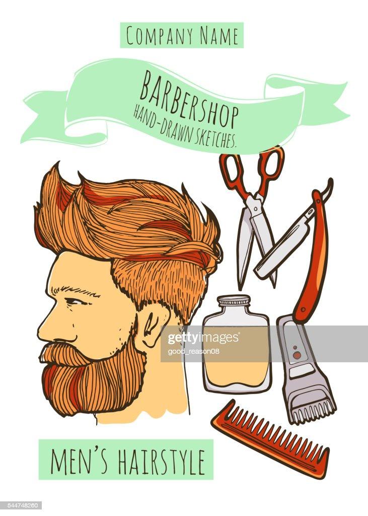 Man hairstyle. Barbershop background.
