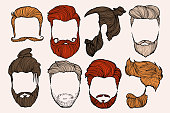 Man hairstyle. Set of hand-drawn sketches