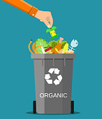 man hand throws garbage into a organic container
