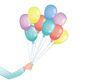 Man hand with colored flying balloons on white background.
