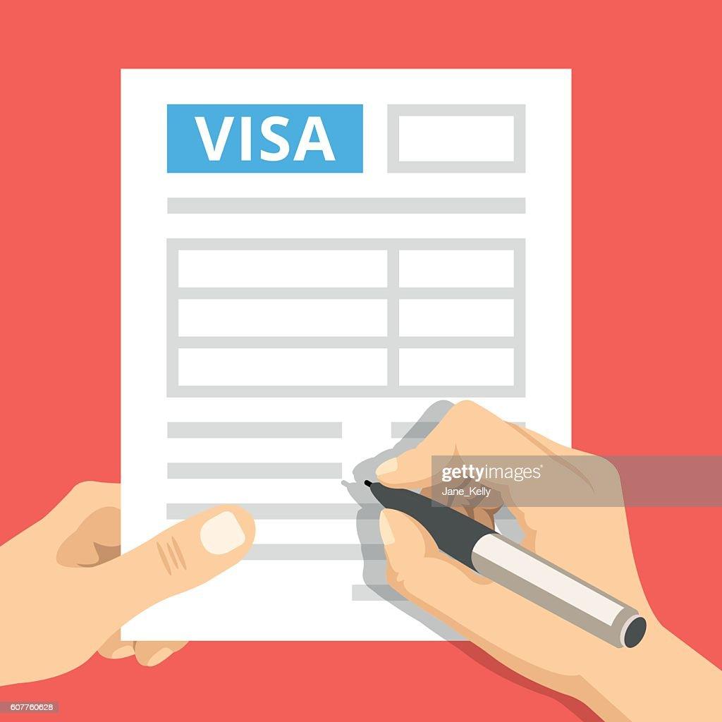 Man hands filling out visa application. Flat design vector illustration