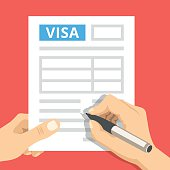 Man hands filling out visa application. Flat design vector illustration