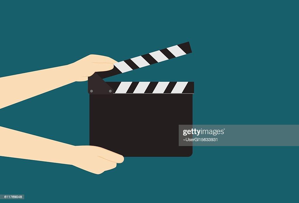 Man Hands Holding Cinema Clapper Board
