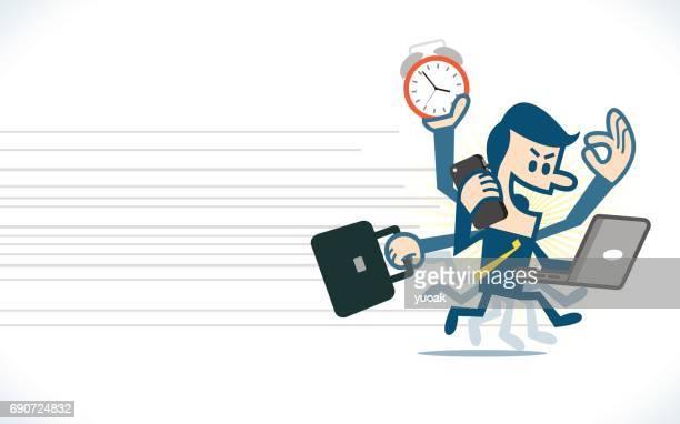 Man hard work running with multitasking
