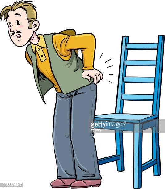 man has backache. - rheumatism stock illustrations