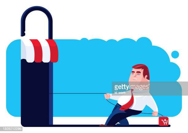 man having problem with unsafe store - scammer stock illustrations